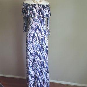 Maxi, off-shoulder, 3/4 sleeve dress